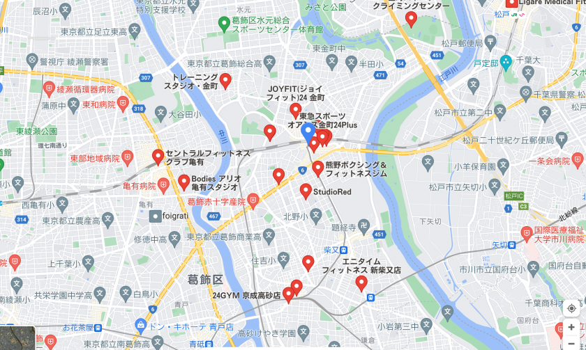 【京成金町】京成金町駅周辺のおすすめフィットネスジム・パーソナルトレーニングジムをご紹介!