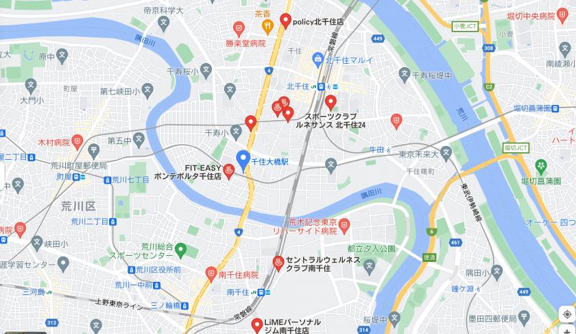 【千住大橋】千住大橋駅周辺のおすすめフィットネスジム・パーソナルトレーニングジムをご紹介!